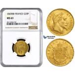 ZM842, France, Napoleon III, 20 Francs 1869-BB, Strasbourg, Gold, NGC MS63
