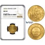 ZM843, France, Third Republic, 20 Francs 1876-A, Paris, Gold, NGC MS64