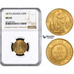 ZM845, France, Third Republic, 20 Francs 1877-A, Paris, Gold, NGC MS65