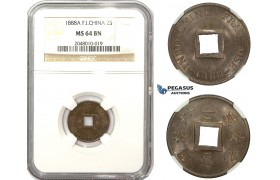 ZM848, French Indo-China, 2 Sapeque 1888-A, Paris, NGC MS64BN