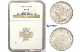 ZM853, Straits Settlements, Victoria, 5 Cents 1888, Silver, NGC AU58
