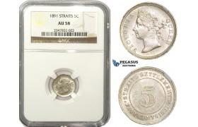 ZM854, Straits Settlements, Victoria, 5 Cents 1891, Silver, NGC AU58