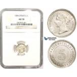 ZM855, Straits Settlements, Victoria, 5 Cents 1896, Silver, NGC AU58