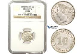 ZM856, Straits Settlements, Victoria, 10 Cents 1884 (Crosslet 4)  Silver, NGC AU58