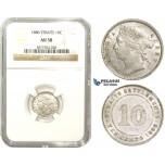 ZM857, Straits Settlements, Victoria, 10 Cents 1886, Silver, NGC AU58