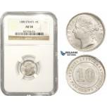 ZM858, Straits Settlements, Victoria, 10 Cents 1888, Silver, NGC AU58