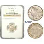 ZM859, Straits Settlements, Victoria, 10 Cents 1895, Silver, NGC AU58