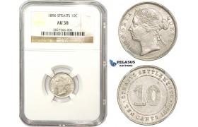 ZM860, Straits Settlements, Victoria, 10 Cents 1896, Silver, NGC AU58