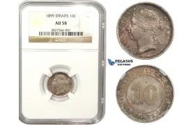 ZM861, Straits Settlements, Victoria, 10 Cents 1899, Silver, NGC AU58