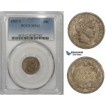ZM866, United States, Barber Dime (10C) 1911-S, San Francisco, Silver, PCGS MS62