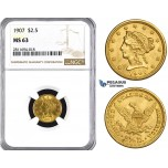 ZM874, United States, Liberty Head 2 1/2 Dollars 1907, Philadelphia, Gold, NGC MS63
