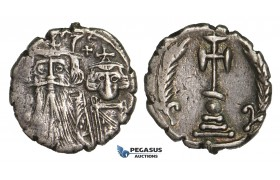 ZM902, Byzantine Empire, Constans II & Constantine IV, AR Ceremonial Miliarense (4.08g) Constantinople (654 AD) Rare!