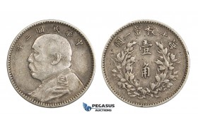 """ZM903, China """"Fat Man"""" 10 Cents Yr. 3 (1914) Silver, Toned VF-XF"""