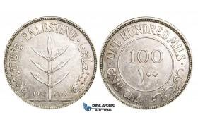 ZM908, Palestine, 100 Mils 1927, London, Silver, Lightly toned AU