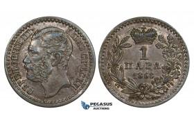 ZM912, Serbia, M. Obrenovic III, 1 Para 1868, Lustrous AU