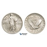 ZM914, United States, Standing Liberty Quarter (25C) 1917 (Type 2) Philadelphia, Silver, Cleaned VF-XF