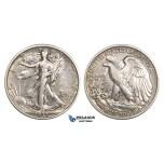 ZM917, United States, Walking Liberty Half Dollar (50C) 1918, Philadelphia, Silver, Polished VF