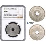 ZM919, Palestine, 20 Mils 1941, London, NGC MS63, Rare!