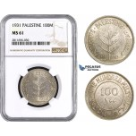 ZM920, Palestine, 100 Mils 1931, London, Silver, NGC MS61, Rare!