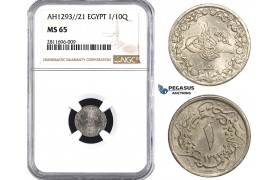ZM927, Ottoman Empire, Egypt, Abdülhamid II, 1/10 Qirsh AH1293/21, NGC MS65