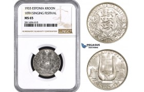ZM933, Estonia, 1 Kroon 1933, Silver, NGC MS65
