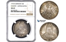 ZM937, Germany, Saxony, 3 Mark 1913-E (Leipzig Battle) Silver, NGC MS65