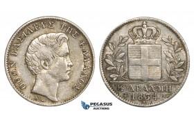 ZM938, Greece, Othon, 1/2 Drachma 1834-A, Paris, Silver, Lustrous XF-AU