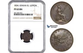ZM939, Greece, Ionian Islands, Lepton 1834, London, PF63BN, Rare!