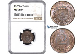 ZM943, Latvia, 2 Santimi 1939, NGC MS64BN