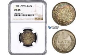 ZM944, Latvia, 1 Lats 1924, Silver, NGC MS65