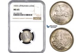 ZM945, Lithuania, 1 Litas 1925, Silver, NGC MS65