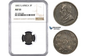 ZM947, South Africa (ZAR) Threepence (3P) 1892, Silver, NGC AU53