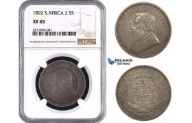 ZM948, South Africa (ZAR) 2 1/2 Shillings 1892, Silver, NGC XF45