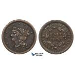 ZM950, United States, Braided Hair Half Cent 1851, Philadelphia, Brown XF