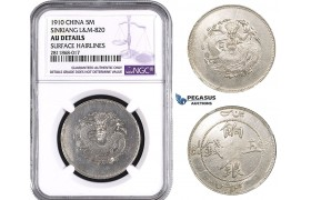 ZM985, China, Sinkiang, 5 Miscals 1910, Silver, L&M 820, NGC AU Det.