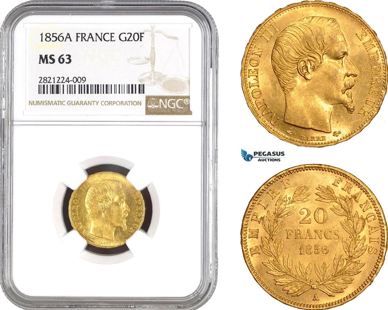 AB795, France, Napoleon III, 20 Francs 1856-A, Paris, Gold