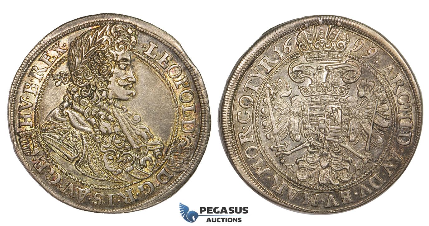 82287fff6 ZJ99, Hungary, Leopold, 1/2 Taler 1699-KB, Kremnitz, Silver (14.00g) Toned  VF-EF